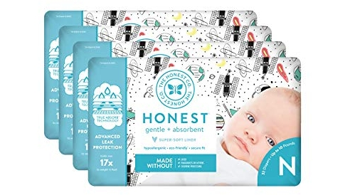 Purchase The Honest Company Diapers - Newborn Diapers, Size 0 - Space Travel Print, TrueAbsorb Technology, Plant-Derived Materials, Hypoallergenic, 128 Count at Amazon.com