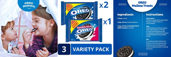Purchase OREO Original & OREO Double Stuf Chocolate Sandwich Cookie Variety Pack, Family Size, 3 Packs on Amazon.com