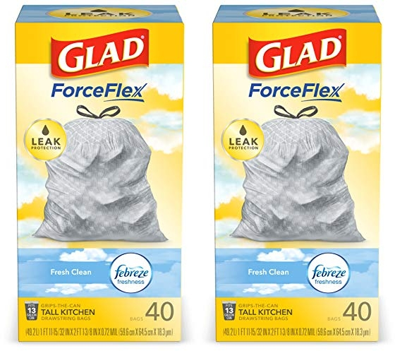 Purchase Glad ForceFlex Tall Kitchen Drawstring Trash Bags, Fresh Clean, 13 Gal, 40 Ct (Package May Vary) at Amazon.com