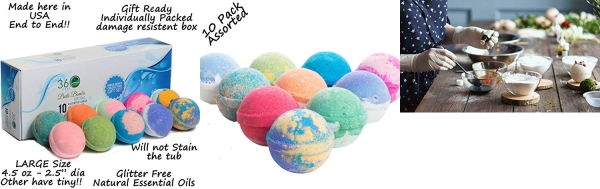 Purchase 360Feel Bath Bombs Gift Set 10 Large, USA made, Gift ready box on Amazon.com