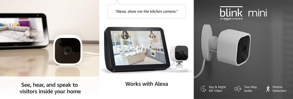 Purchase Blink Mini Compact indoor plug-in smart security camera, 1080 HD video, motion detection, night vision, Works with Alexa 1 camera on Amazon.com