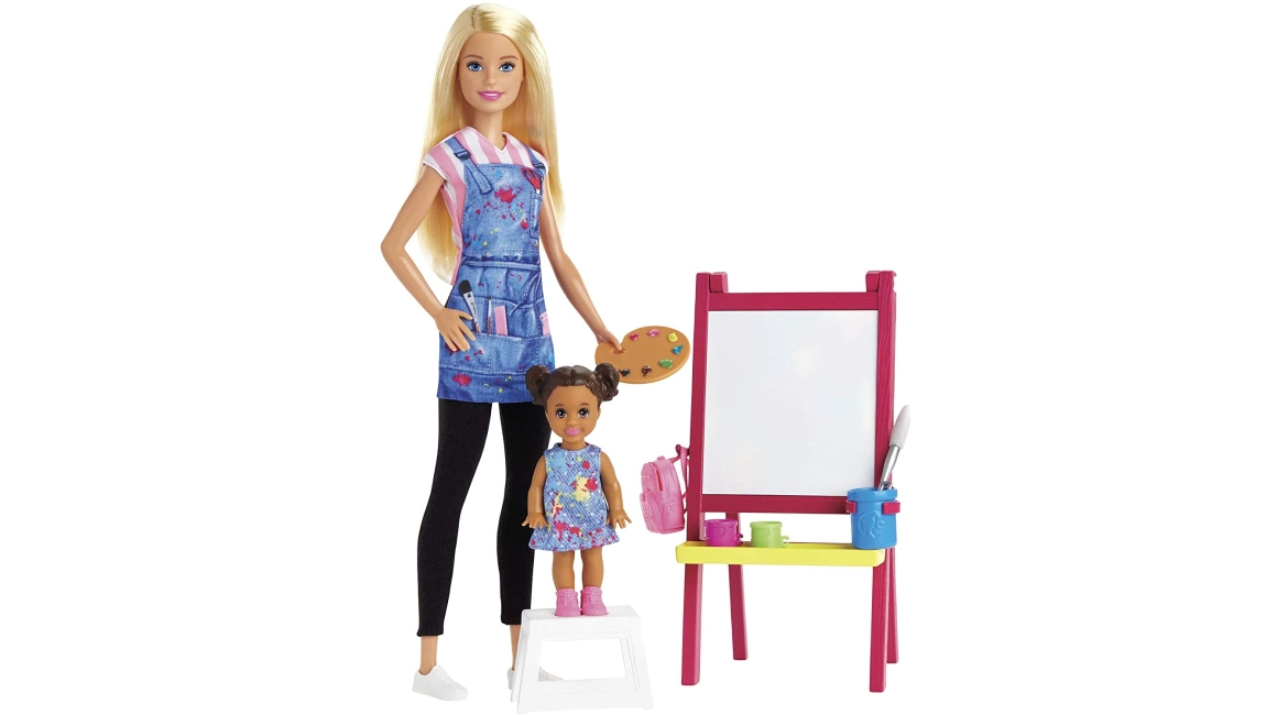 Purchase Barbie Art Teacher Playset with Blonde Doll, Toddler Doll, Easel and Accessories at Amazon.com