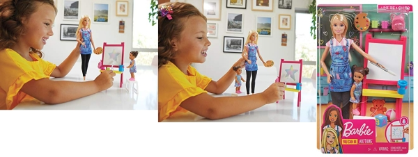 Purchase Barbie Art Teacher Playset with Blonde Doll, Toddler Doll, Easel and Accessories on Amazon.com
