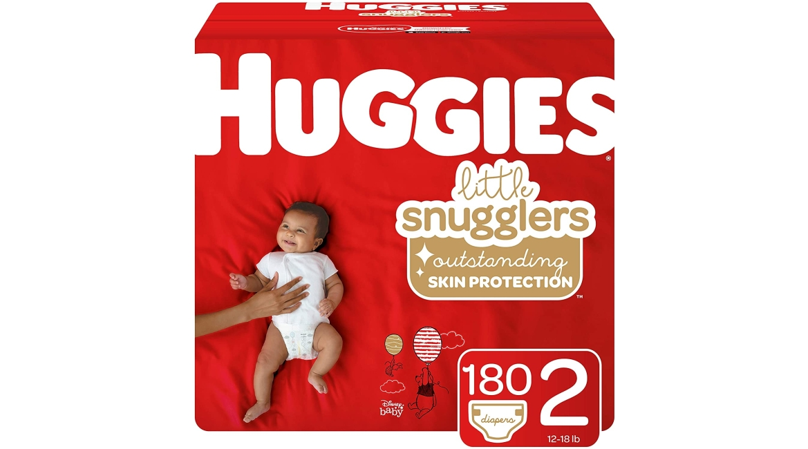 Purchase Huggies Little Snugglers Baby Diapers, Size 2 (up to 12-18 lb.), Economy Plus Pack, 180 Count at Amazon.com