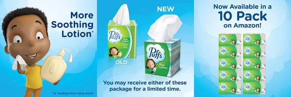 Purchase Puffs Plus Lotion Facial Tissues, 10 Cubes, 52 Tissues Per Box (520 Tissues Total) on Amazon.com