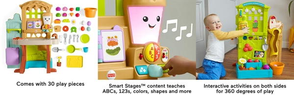Purchase Fisher-Price Laugh & Learn Grow-the-Fun Garden to Kitchen, interactive farm-to-kitchen playset for toddlers with music, lights and learning content on Amazon.com