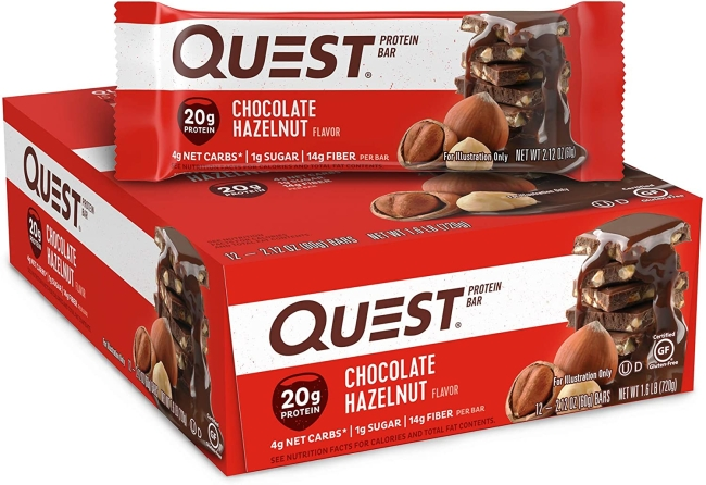 Purchase Quest Nutrition Chocolate Hazelnut Protein Bar, High Protein, Low Carb, Gluten Free, Keto Friendly, 12 Count at Amazon.com