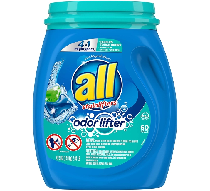 Purchase All Mighty Pacs Laundry Detergent 4 In 1 With Odor Lifter, Tub, 60 Count at Amazon.com