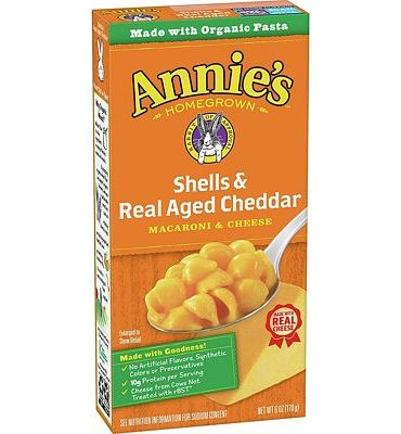 Purchase Annie's Macaroni and Cheese, Shells & Aged Cheddar Mac and Cheese, 6 oz Box (Pack of 12) at Amazon.com