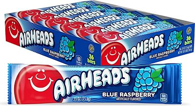 Purchase Airheads Candy, Individually Wrapped Bars, Blue Raspberry, Non Melting, Party, 0.55 Ounce (Pack of 36) at Amazon.com