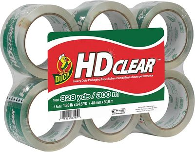 Purchase Duck HD Clear Heavy Duty Packing Tape Refill, 6 Rolls, 1.88 Inch x 54.6 Yard, (441962) at Amazon.com