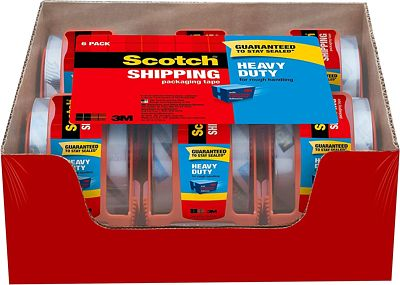 Purchase Scotch Heavy Duty Shipping Packaging Tape, 6 Rolls with Dispenser, Clear, 1.88 inches x 800 inches, 1.5 inch Core, Great for Packing, Shipping & Moving (142-6) at Amazon.com