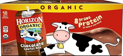 Purchase Horizon Organic, Lowfat Organic Milk Box, Chocolate, 8 Fl. Oz (Pack of 18), Single Serve, Shelf Stable Organic Chocolate Flavored Lowfat Milk, Great for School Lunch Boxes, Snacks at Amazon.com