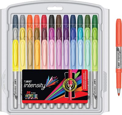 Purchase BIC Intensity Fashion Permanent Markers, Fine Point, Assorted Colors, 36-Count at Amazon.com
