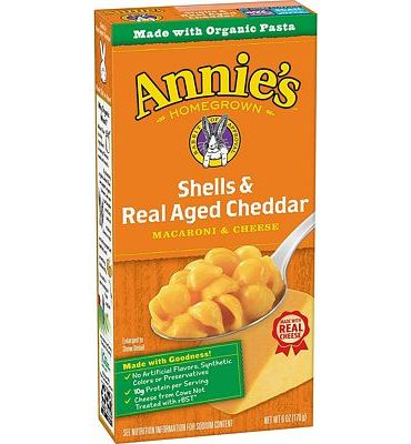 Purchase Annie's Macaroni and Cheese, Shells & Aged Cheddar Organic Mac and Cheese, 6 Ounce Box at Amazon.com