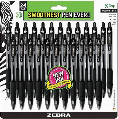 Purchase Zebra Pen Z-Grip Retractable Ballpoint Pen, Medium Point, 1.0mm, Black Ink - 24 Pieces at Amazon.com