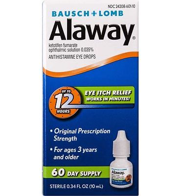 Purchase Alaway Antihistamine Eye Drops, 0.34 fl oz (10 ml) at Amazon.com
