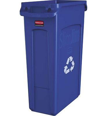 Purchase Rubbermaid Commercial Products Slim Jim Plastic Rectangular Recycling Bin With Venting Channels, 23 Gallon, Blue Recycling (Fg354007Blue) at Amazon.com