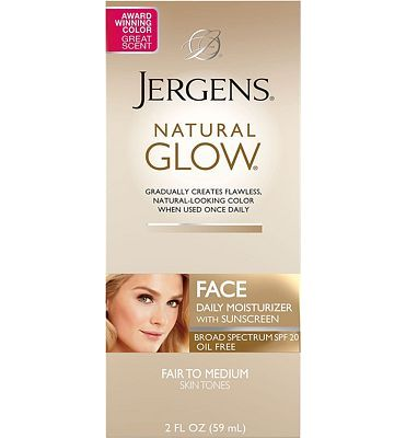 Purchase Jergens Natural Glow Oil-Free Daily Moisturizer for Face with Broad Spectrum SPF 20, Fair to Medium Skin Tones, 2 Ounces at Amazon.com