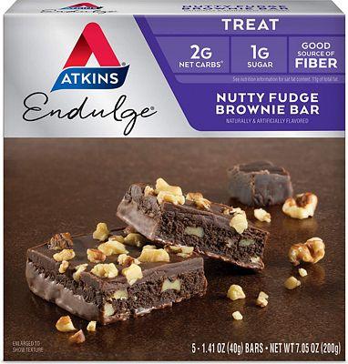 Purchase Atkins Endulge Treat, Nutty Fudge Brownie Bar, Keto Friendly, 5 Count at Amazon.com