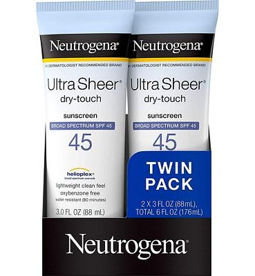 Purchase Neutrogena Ultra Sheer Dry-Touch Water Resistant and Non-Greasy Sunscreen Lotion with Broad Spectrum SPF 45, 3 fl. oz, Pack of 2 at Amazon.com
