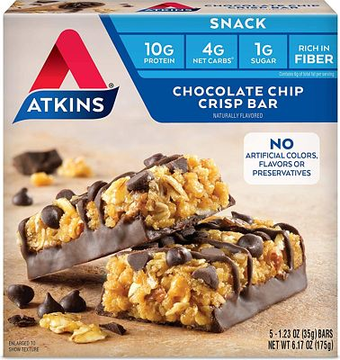 Purchase Atkins Snack Bar, Chocolate Chip Crisp, Keto Friendly, 6.17 Ounce at Amazon.com