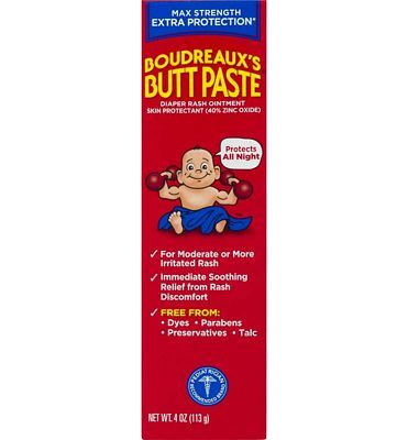 Purchase Boudreaux's Butt Paste Diaper Rash Ointment, Maximum Strength, 4 oz. Tube, Paraben & Preservative Free at Amazon.com