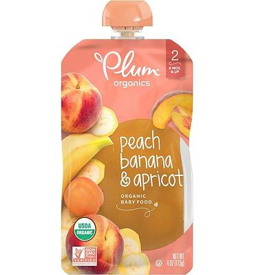 Purchase Plum Organics Stage 2, Organic Baby Food, Peach, Banana and Apricot, 4 ounce pouches (Pack of 12) at Amazon.com