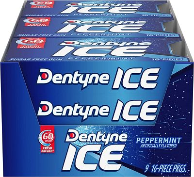 Purchase Dentyne Ice Sugar Free Gum (Peppermint 16 Piece Pack of 9) at Amazon.com