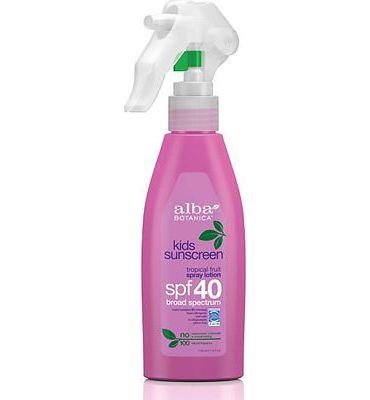 Purchase Alba Botanica Tropical Fruit Spray Lotion Kids SPF 40 Sunscreen, 4 oz. at Amazon.com