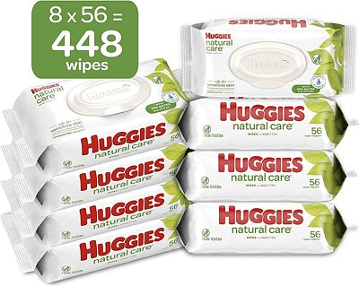 Purchase HUGGIES Natural Care Unscented Baby Wipes, Sensitive, 8 Flip-top Packs, 448 Count at Amazon.com