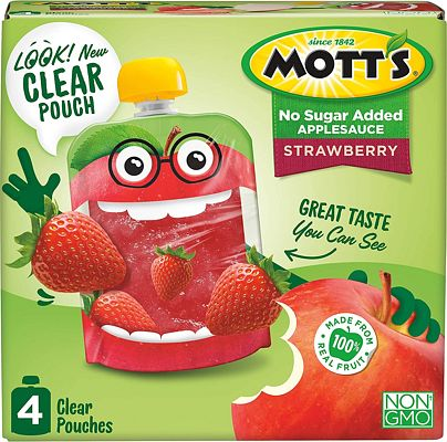 Purchase Mott's Unsweetened Strawberry Applesauce, 3.2 Ounce Pouch, 4 Count (Pack of 6) at Amazon.com