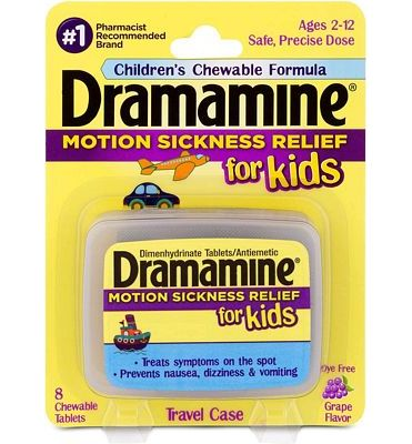 Purchase Dramamine Motion Sickness Relief for Kids, Chewable Grape, 8 Count at Amazon.com