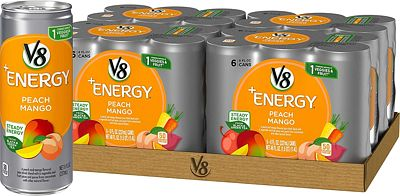 Purchase V8 +Energy, Juice Drink with Green Tea, Peach Mango, 8 oz. Can (4 packs of 6, Total of 24) at Amazon.com