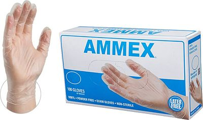 Purchase AMMEX - VPF64100-BX - Medical Vinyl Gloves - Disposable, Powder Free, Exam, 4 mil, Medium, Clear (Box of 100) at Amazon.com