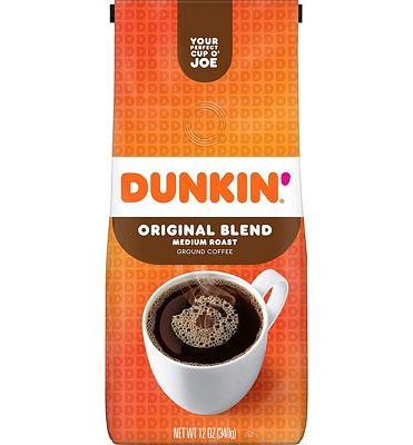 Purchase Dunkin' Original Blend Medium Roast Ground Coffee, 12 Ounces at Amazon.com