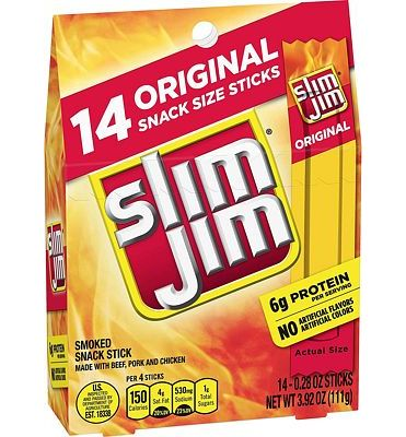 Purchase Slim Jim Snack-Sized Smoked Meat Stick, Original Flavor, 14 Count at Amazon.com