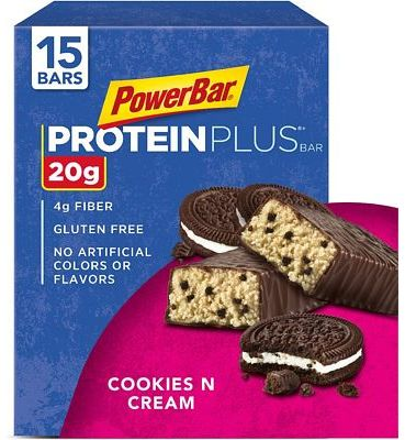 Purchase PowerBar Protein Plus Bar, Cookies & Cream, 2.15 Ounce (Pack of 15) at Amazon.com