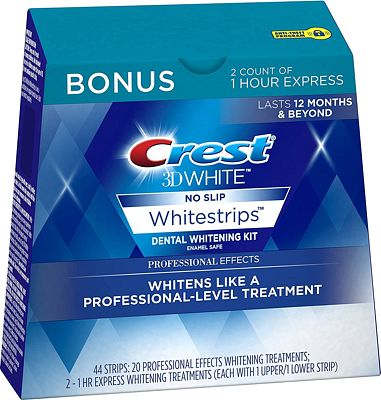 Purchase Crest 3D White Professional Effects Whitestrips Whitening Strips Kit, 22 Treatments, 20 Professional Effects + 2 1 Hour Express Whitestrips at Amazon.com