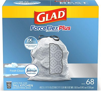 Purchase Glad ForceFlexPlus Tall Kitchen Drawstring Trash Bags -13 Gallon White Trash Bag, with Febreze Fresh Clean - 68 Count at Amazon.com