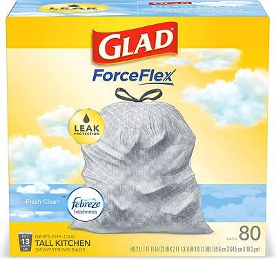 Purchase Glad Tall Kitchen Drawstring Trash Bags - OdorShield 13 Gallon Grey Trash Bag, Febreze Fresh Clean - 80 Count at Amazon.com