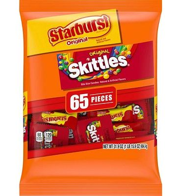 Purchase SKITTLES and STARBURST Original Candy Bag, 65 Fun Size Pieces, 31.9 ounces at Amazon.com