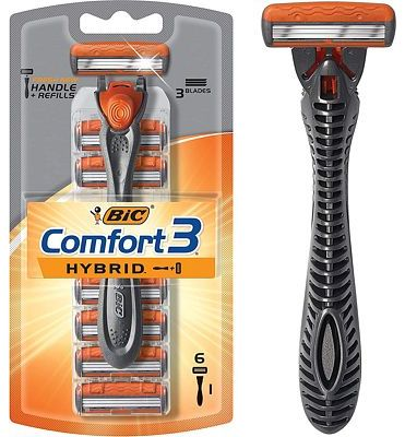 Purchase BIC Comfort 3 Hybrid Men's Razor, 1 Handle 6 Cartridges at Amazon.com