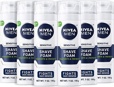 Purchase NIVEA Men Sensitive Shaving Foam - Soothes Sensitive Skin From Shave Irritation - 7 oz. Can (Pack of 6) at Amazon.com