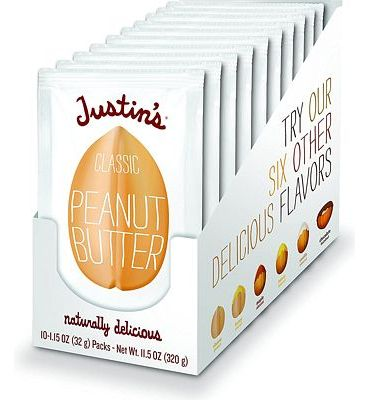 Purchase Justin's Classic Peanut Butter Squeeze Packs, Only Two Ingredients, Gluten-free, Non-GMO, Responsibly Sourced, Pack of 10 (1.15oz each) at Amazon.com