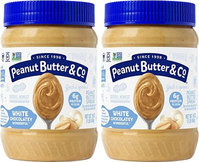 Purchase Peanut Butter & Co. White Chocolatey Wonderful Peanut Butter, Non-GMO Project Verified, Gluten Free, Vegan, 16 Ounce (Pack of 2) at Amazon.com