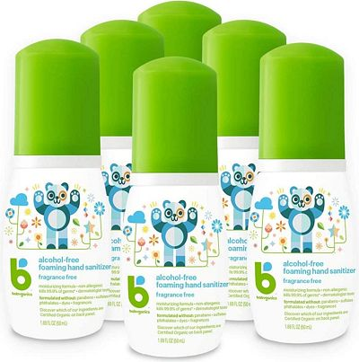 Purchase Babyganics Alcohol-Free Foaming Hand Sanitizer, Fragrance Free, On-The-Go, 50 ml (1.69-Ounce), Pump Bottle (Pack of 6) at Amazon.com