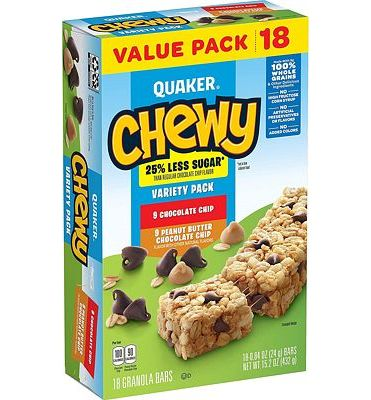 Purchase Quaker Chewy Granola Bars, 25% Less Sugar Variety Pack, 18 Bars, Net Wt. 15.2 oz at Amazon.com