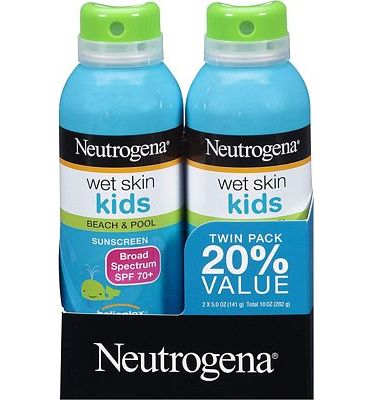 Purchase Neutrogena Wet Skin Kids Sunscreen Spray, Water-Resistant and Oil-Free, Broad Spectrum SPF 70+, 5 oz, 2 Pack at Amazon.com