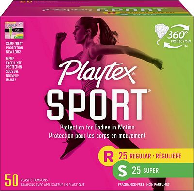 Purchase Playtex Sport Tampons with Flex-Fit Technology, Regular & Super Multi Pack, Unscented - 50 Count at Amazon.com